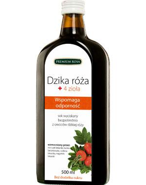 Sok dzika róża + 4 zioła- odporność –PremiumRosa, 500ml