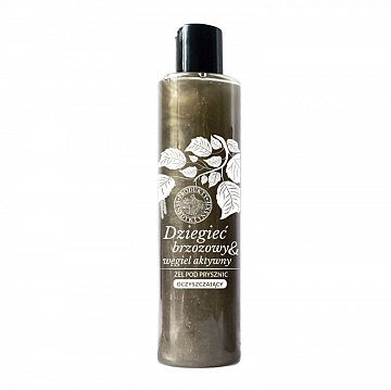 Żel pod prysznic z dziegciem brzozowym i węglem aktywnym –ProduktyBenedyktyńskie, 250ml