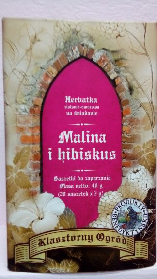 Herbata śniadaniowa malina hibiskus –ProduktyBenedyktyńskie, 20saszetekpo2g –ProduktyBenedyktyńskie, 20saszetekpo2g