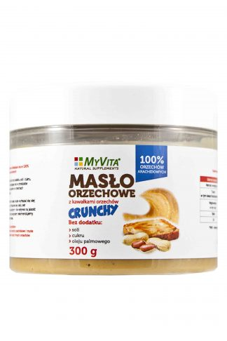 Masło orzechowe 100% arachidowe z kawałkami orzechów –MyVita, 300g –MyVita, 300g